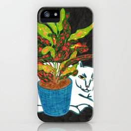 Cat with House Plant iPhone Case