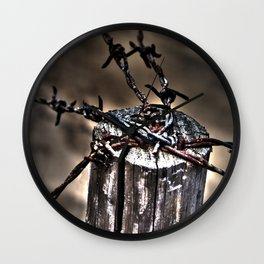 Freedom- barbed wire fence Wall Clock