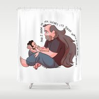 greg guillemin Shower Curtains featuring Steven Universe: Greg and Steven by Liv Moy