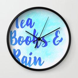 Tea, Books & Rain Wall Clock