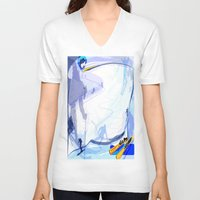 skiing V-neck T-shirts featuring Downhill Skiing by Robin Curtiss
