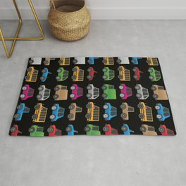 Cute Toy Cars, Trucks and School Buses Pattern Rug