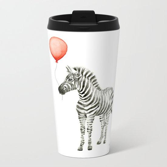 Baby Zebra Whimsical Animal with Red Balloon Nursery Art Metal Travel Mug