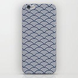Navy Blue Seigaiha Sea Wave Nautical Minimalist iPhone Skin