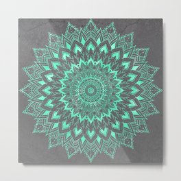 Boho turquoise watercolor floral mandala on grey cement concrete Metal Print
