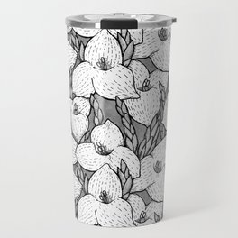 Puya Flowers Floral Pattern Greyscale Travel Mug