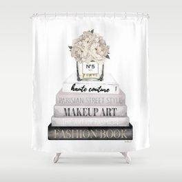 Fashion books, in Grey, with Hydrangeas, Cream, Make up, Watercolor, Fashion, Illustration Shower Curtain
