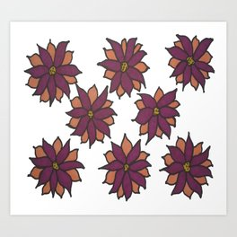 Holiday Two-Toned Flowers Art Print