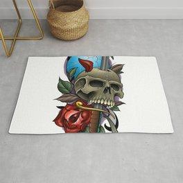 skull and dagger Rug