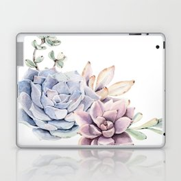 Pristine Succulents Blue and Pink Laptop & iPad Skin