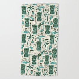 Tropical Tiki - Cream & Aqua Beach Towel