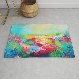 ETHERIAL DAYS - Stunning Floral Landscape Nature Wildflower Field Colorful Bright Floral Painting Rug