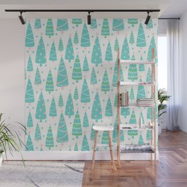 Pastel Christmas Tree Forest Wall Mural