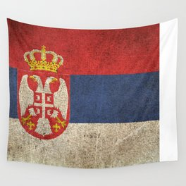 Old and Worn Distressed Vintage Flag of Serbia Wall Tapestry