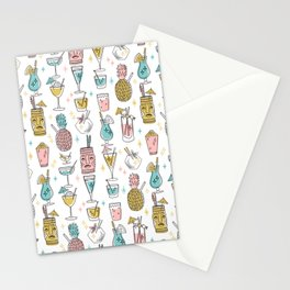 Tropical cocktails summer drinks pineapple tiki bar pattern by andrea lauren Stationery Cards