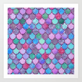 Colorful Pink Glitter Mermaid Scales Art Print
