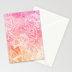 Modern pink coral ombre unset watercolor floral white boho hand drawn pattern Stationery Cards