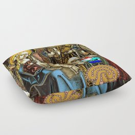 Will the Wandering Gnome Shares a White Hat with Jesus (Gnome Art) (Christmas Art) Floor Pillow