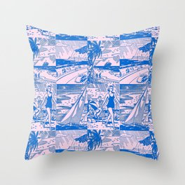 Midcentury Vacation Postcards in Pink + Blue Throw Pillow