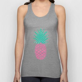 Pink Pineapple Motif Trendy Pine Apple with Polka Dots Tropical Beach Unisex Tank Top