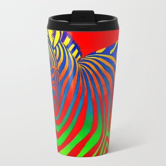Psychedelic Zebra Metal Travel Mug