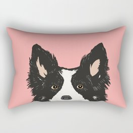 Border Collie pet portrait pink background dog lover art gifts Rectangular Pillow