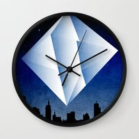 evangelion Wall Clocks featuring Ramiel Thunder of God Vector Angel Art from Evangelion Anime Series. by Barrett Biggers