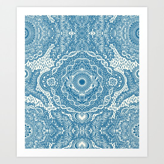 Rain in the Garden - blue and cream Art Print