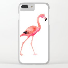 flamingo steps Clear iPhone Case