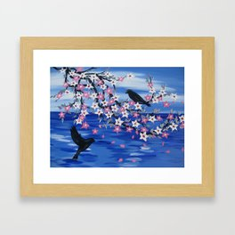 blue sea with cherry blossom on hanging branch with a pair of birds romantic japanese style art Framed Art Print