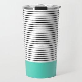 MINIMAL Teal Blue Stripes Travel Mug
