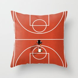 Street Basketball From Above | Aerial Illustration Throw Pillow