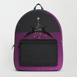 Champagne Gold Star Christmas Tree with Magical Reindeers | Romantic Pink Backpack