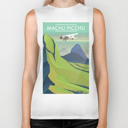 machu picchu travel poster Biker Tank