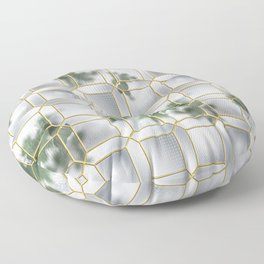 Art Deco Glass Partition Floor Pillow