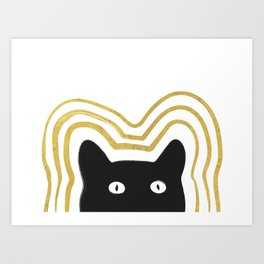 Golden Cat Vibes Art Print