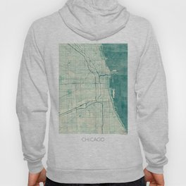 Chicago Map Blue Vintage Hoody