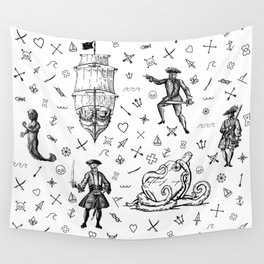 Pirate's Life Stick and Poke Illustration Wall Tapestry