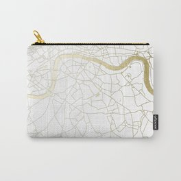 London White on Gold Street Map Carry-All Pouch