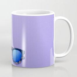 Blue Lens Sunglasses on a Purple Background Coffee Mug