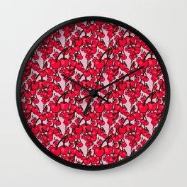 Pattern of Ripe Red Cherries Wall Clock