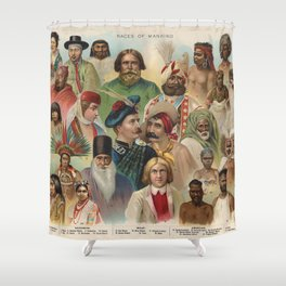 Vintage Races of Mankind Shower Curtain