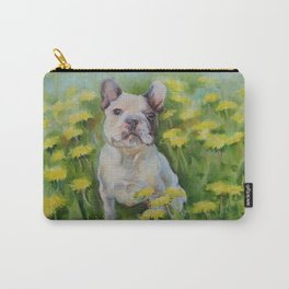 Frenchie Cute French Bulldog puppy portrait Bully Dog Pet in the meadow Yellow Flowers Painting Carry-All Pouch