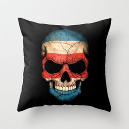 Dark Skull with Flag of Costa Rica Throw Pillow