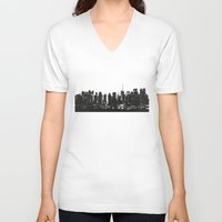 playstation V-neck T-shirts featuring New York black and white high quality art print by eARTh
