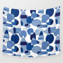 Blue Watercolour Geometric Wall Tapestry