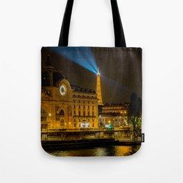 Musee d'Orsay in Paris at night Tote Bag