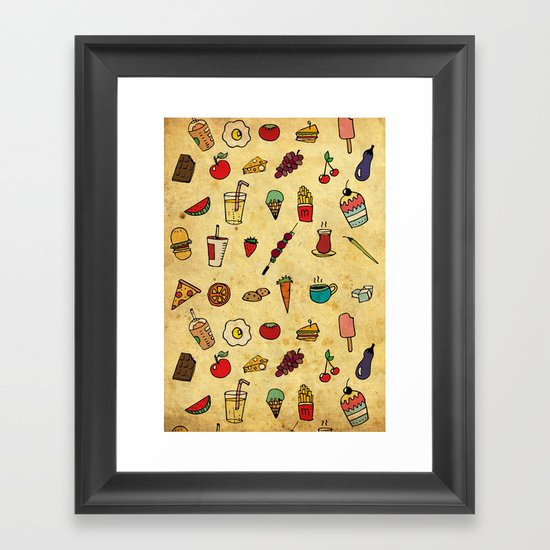 Food Love Pattern Framed Art Print