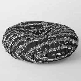 Sheet Music // Black Floor Pillow