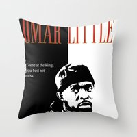 scarface Throw Pillows featuring Omar Little [Scarface] The Wire by D-fens